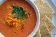 Gourmet Girl Cooks: Fire Roasted Tomato Cheddar Chowder - Rich, Luscious & Low Carb