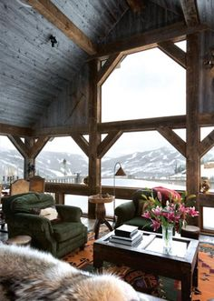 cabin, living rooms, window, dream, the view, hous, place, mountain homes, vaulted ceilings
