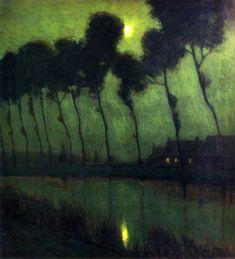 ☼ Painterly Landscape Escape ☼ landscape painting by CHARLES WARREN EATON  Bruges Moonlight (1910)