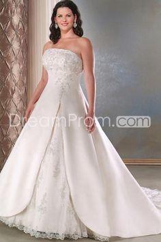 Fancy A-Line/Princess Strapless Sleeveless Appliques Plus Size Bridal Gowns (3H0037)