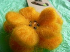 Felted yellow flower brooch