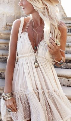 Sexy boho chic gauzy dress with chunky hippie bracelets and layered necklaces. FOLLOW this board > http://www.pinterest.com/happygolicky/the-best-boho-chic-fashion-bohemian-jewelry-gypsy-/ for the BEST Bohemian fashion trends for 2015.