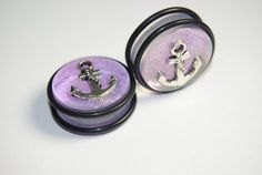Anchor, Glittery Purple 7/8 inch (22mm) Acrylic Plugs, Ear Gauges, Girly, Cute, Lavender, Stretched Ears, Pastel, Light, Plugs for Girls on Etsy, $15.00