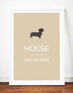 Dachshund print poster art illustration sausage dog typography