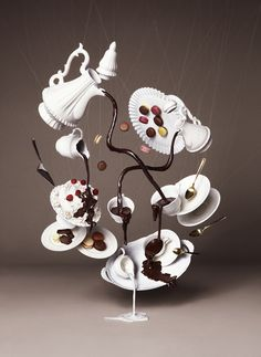 Gravity Defying Photography for Chocolate Trail by NAM tea time, tea sets, chocolates, teas, chocolate art, alice in wonderland, sculptur, food art, parti