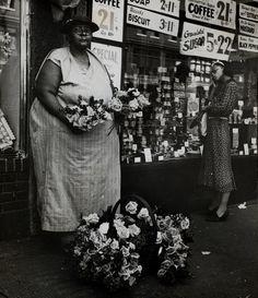 Flower vendor. New York, circa 1935.  By Beatrice Kosofsky