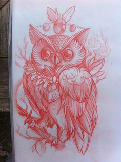 Owl Tattoo Sketch. Love love love the body
