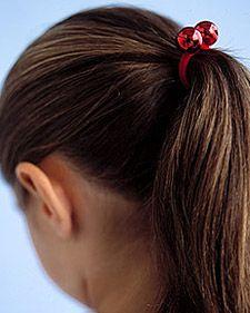Christmas crafts for kids: Jingle Bell Ponytail Holder