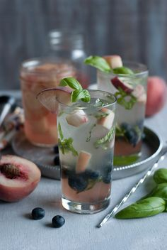 White Peach, Basil and Blueberry Mojito