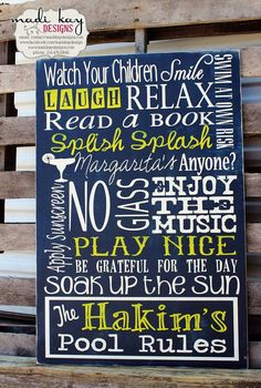 Personalized Family Pool Rules Subway Sign by MadiKayDesigns, $84.99