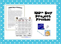 100th Day Project freebie...includes parent letter and a rubric for grading project