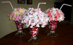 "Fill ""sundae"" glass container with red, pink and white milkies and add taffys and a straw--what a cute idea"