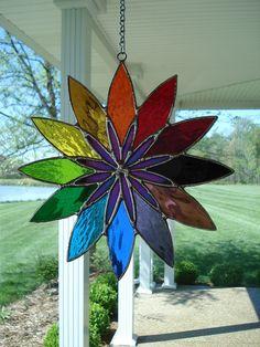 glass mosaic suncatcher, chime, rainbow flowers, stain glass sun catchers, color combos, rainbow suncatch, colors, stained glass, art rooms