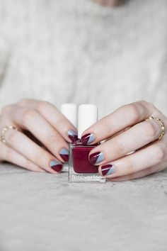 Nail inspiration: DIAGONAL #TENOVERTENMANI IN ESSEX & ORCHARD by tenoverten. Find the products that were used to get this look on the #TheBeautyBoard> #Sephora #nailspotting #nailpolish