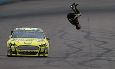 Carl performs his famous back flip after winning the NASCAR Sprint Cup race at Phoenix!  Gotta love him! Spokesman.com - March 3, 2013