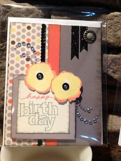 Birthday CTMH Baby Cakes paper, handmade stamped card.  Why give store bought printed cards, when you could send a handmade work of art?!