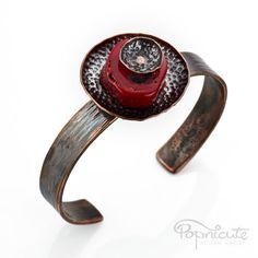 Handmade Adjustable Red Coral Pod Cuff Oval Copper Metal Bracelet by #popnicute. $120 #copper #coral #red #unique #cute #handmade #jewelry #pendant #bracelet #cuff #pod