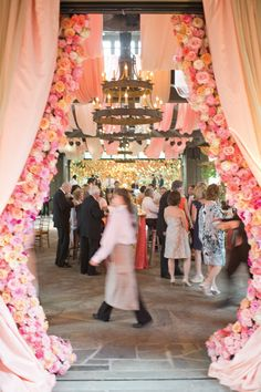 amazing floral curtains flanking the reception entrance | Harwell Photography #wedding