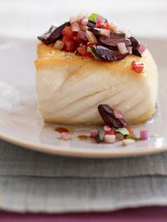 halibut with chopped olive salad recipe