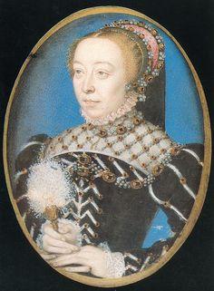 Miniature of Catherine de Medici attributed to Francois Clouet, c.1530-35. (Victoria & Albert Museum)
