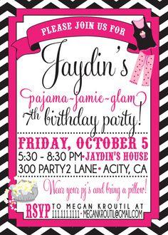 PAJAMA PARTY invitation Slumber Party by SLDESIGNTEAM on Etsy, $18.00