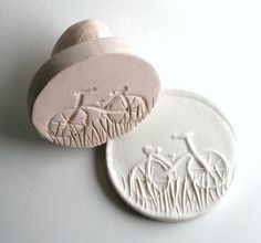 Bicycle Stamp in Clay -- Tool for Ceramics, Pottery, Fondant, Polyclay, Metal Clay