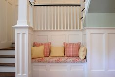 Just like the colors of paint on the different walls  http://www.sevacall.com/blog/wp-content/uploads/2013/07/wainscoting-chair-rail-ideas.jpg