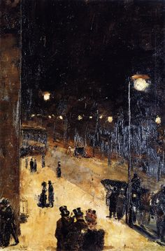 Berlin Street at Night, 1889, oil on canvas // Lesser Ury (November 7, 1861 – October 18, 1931) was a German Impressionist painter and printmaker, associated with the Düsseldorf school of painting.