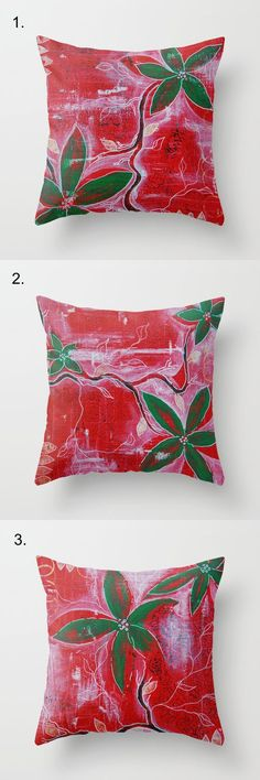 Decorative throw pillow painted red green flower by NewCreatioNZ, $35.00 #pillow