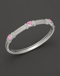 Judith Ripka Sterling Silver Pink Corundum Bangle | Bloomingdale's