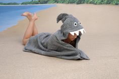GREY Shark hooded towel. $37.00, via Etsy.