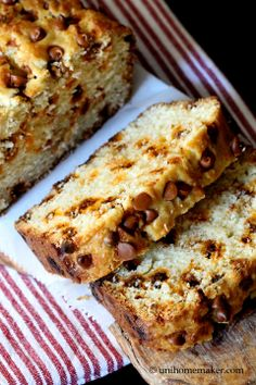 Eggnog Rum Bread with Cinnamon Chips.