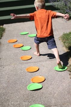 Get the kid moving with just paper plates! Simple!