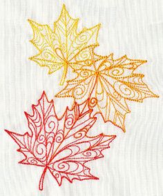 Delicate Autumn Leaves Falling Embroidered by EmbroideryEverywhere, $13.99