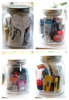 Cute House Warming Gift Idea (mason jar filled with useful household tools and accessories)