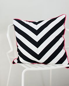 DIY Chevron pillow from Striped Fabric |