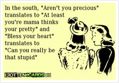 "In the south, ""Aren't you precious"" translates to ""At least   you're mama thinks   your pretty"" and   ""Bless your heart""   translates to   ""Can you really be   that stupid"""