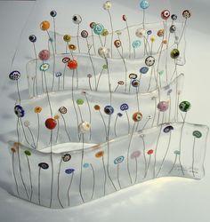 Millifiori fused glass garden