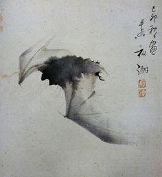 """Yashô (1782-1825)    """"Bat in Flight"""" Ink on paper    (Ashmolean Museum, Oxford. In Maurice Coyaud 'L'Empire du regard'- Mille ans de peinture Japonaise' Ed. Phebus, 1981)"""