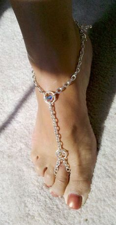 Silver and Crystal Station Barefoot Sandal Beach Wedding Shoes .