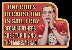 """The whole quote is even funnier! Sheldon is trying to tutor Penny and she starts to cry. When Sheldon asks why she's crying she says """"Because I'm STUPID!"""" And Sheldon replies """"Don't cry because you're stupid! One cries because one is sad. I cry because others are stupid, and that makes me sad."""""""