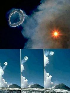 When Mount Etna erupted on April 11,2013, it created amazing smoke rings. Toroidal Vortices or Volcanic smoke rings are rare