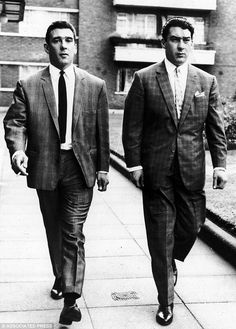 """The Kray Twins.........Twin brothers Ronald """"Ronnie"""" Kray (24 October 1933 – 17 March 1995) and Reginald """"Reggie"""" Kray (24 October 1933 – 1 October 2000) were English gangsters who were the foremost perpetrators of organised crime in the East End of London during the 1950s and 1960s. Ronald, commonly referred to as Ron or Ronnie, most likely suffered from paranoid schizophrenia"""