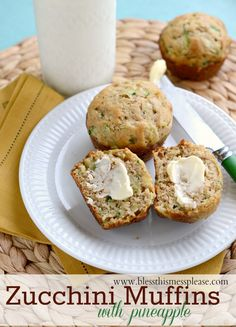 Zucchini Pineapple Muffins that are super moist and you can use whole wheat flour if you like! We all need more zucchini recipes in our lives...
