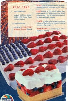 Flag cake recipe for the 4th of July.  Photo and recipe originally distributed by Cool Whip.