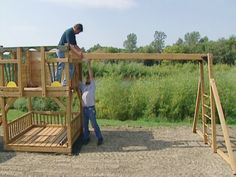 How to Build a Swing Frame and Tower for a Playground : How-To : DIY Network