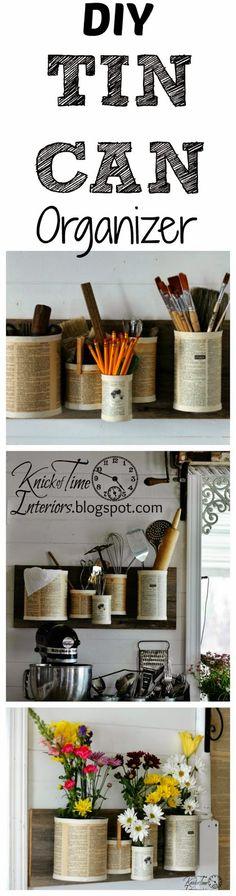 DIY Repurposed Tin Can Wall Organizer via KNICK OF TIME @ http://knickoftimeinteriors.blogspot.com/