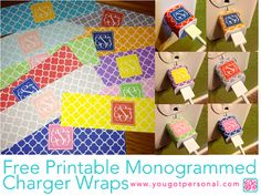 You Got Personal: Free Monogrammed Printable Quatrefoil iPhone Charger Wraps