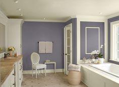 glamrous purple bathroom - sea life 2118-40 (walls), lancaster whitewash HC-174 (ceiling  trim), charmeuse AF-265 (accent)