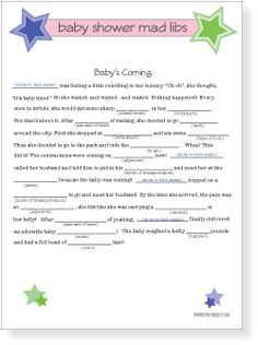 Dramatic image within baby shower mad libs printable free